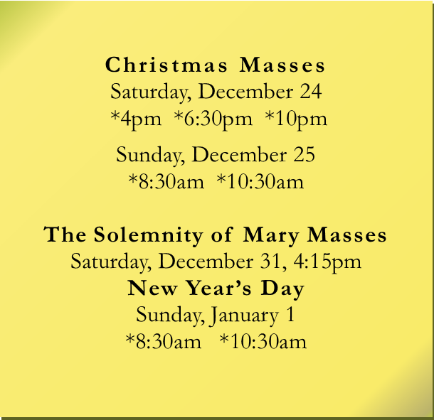 Upcoming events christmas mass schedule